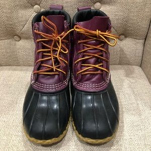 "L.L. Bean 6"" Padded Collar Boots Plum Grape&Black"